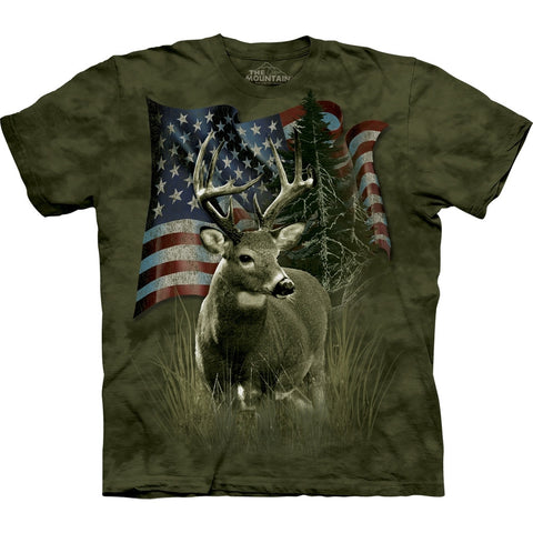 Deer in Front of Flag T-Shirt