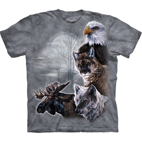 North American Woodland Animals Collage T-Shirt