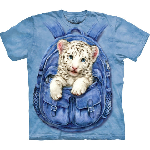 White Tiger Cub in Backpack T-Shirt