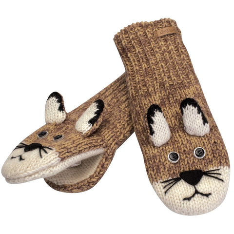 Mountain Lion Knit Mittens