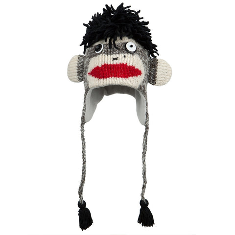 Punk Rock Sock Monkey Peruvian Knit Hat