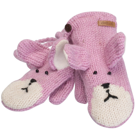 Bailey the Bunny Kids Knit Mittens
