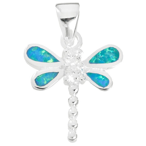 Dragonfly Blue Opal & Stone Sterling Silver Pendant