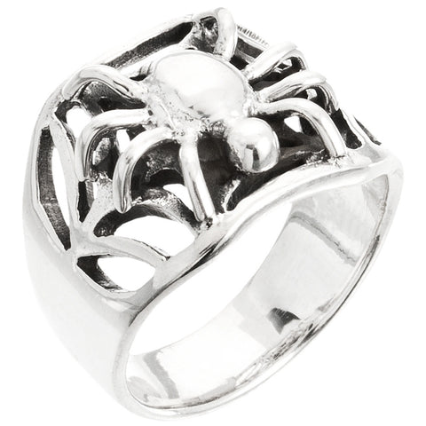 Spider & Web Women's Sterling Silver Ring