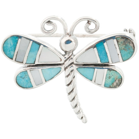 Dragonfly Turquoise Mother of Pearl Sterling Silver Pin