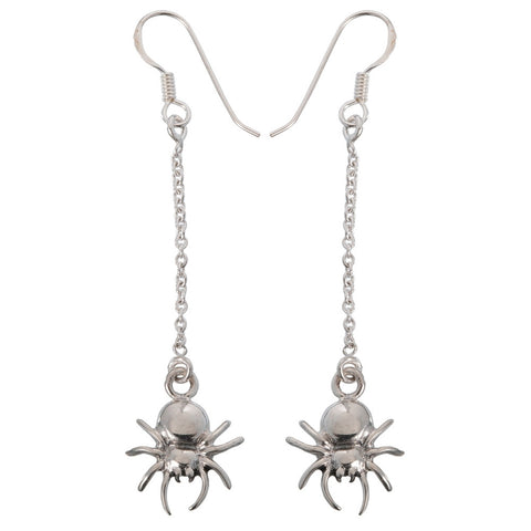 White Spiders Dangling on Chain Sterling Silver Earrings