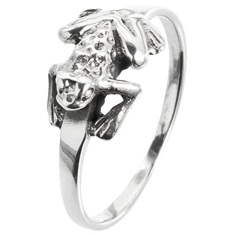 Frog Sideways Sterling Silver Ring