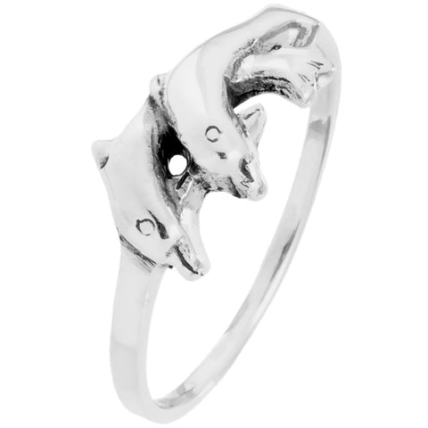 Dolphin Duo Sterling Silver Ring