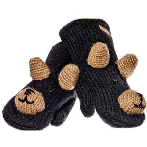 Babu the Black Bear Knit Mittens