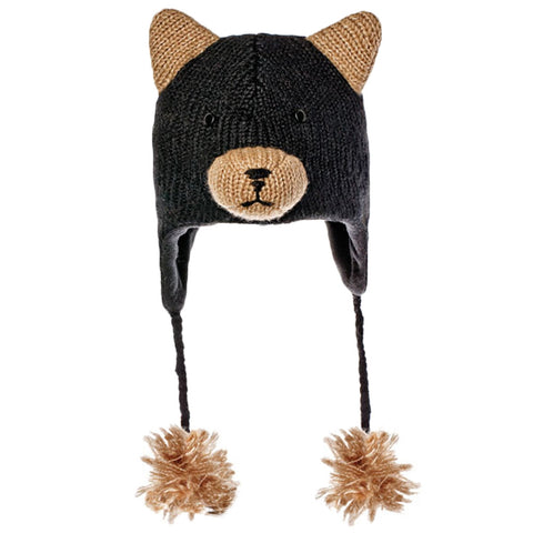 Babu the Black Bear Kids Peruvian Knit Hat