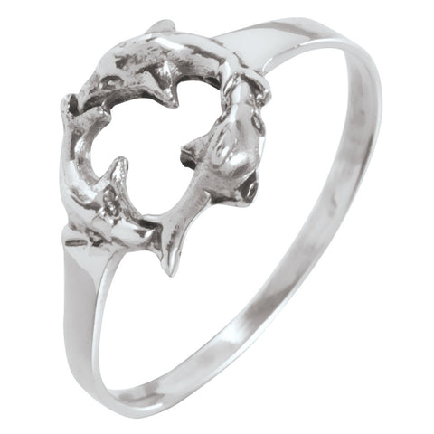 Dolphin Circle Sterling Silver Ring