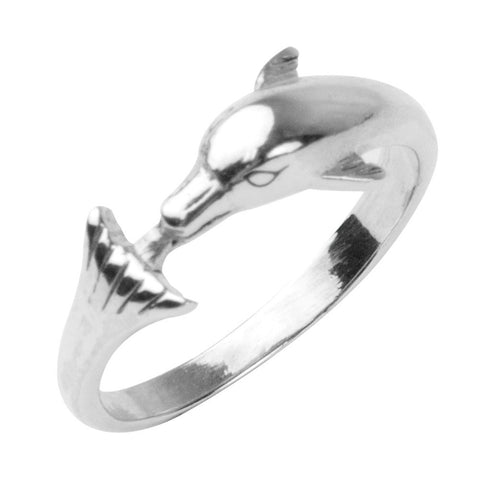 Dolphin Nose To Tail Sterling Silver Ring