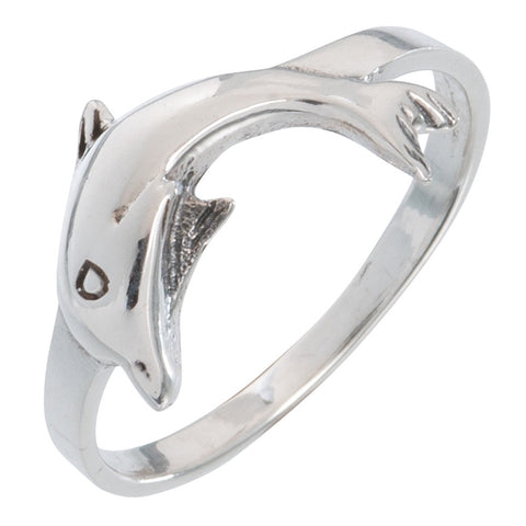 Dolphin Diving Sterling Silver Ring