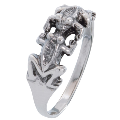 Frogs Kissing Sterling Silver Ring