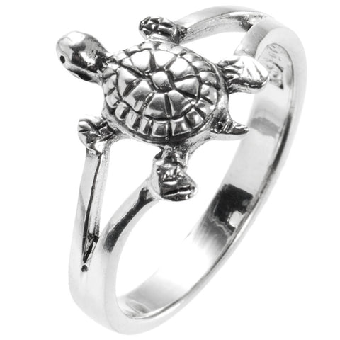 Turtle Round Sterling Silver Ring