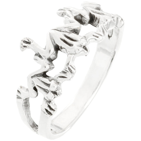 Frog Trio Touching Sterling Silver Ring