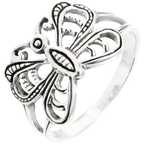 Butterfly With Rounded Wings Sterling Silver Ring