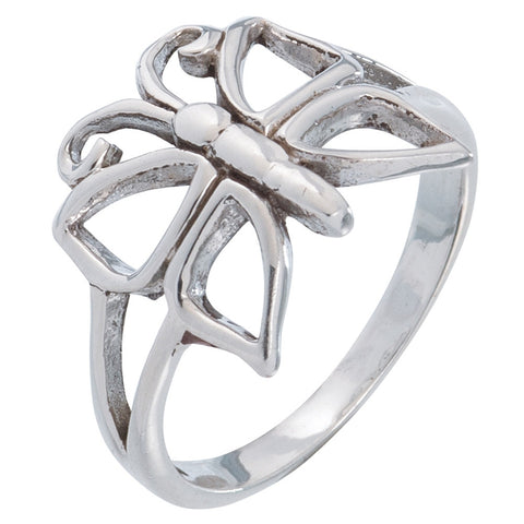 Butterfly Silhouette Sterling Silver Ring