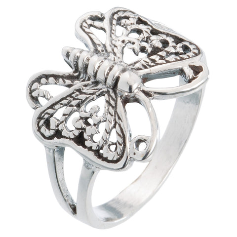 Butterfly With Curly Wings Silver Ring