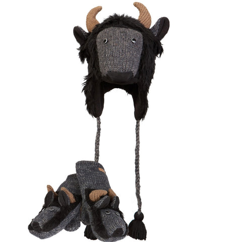 Bryn the Bison Peruvian Knit Hat & Mittens Set