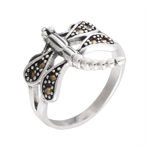Dragonfly With Dotted Wings Sterling Silver Ring