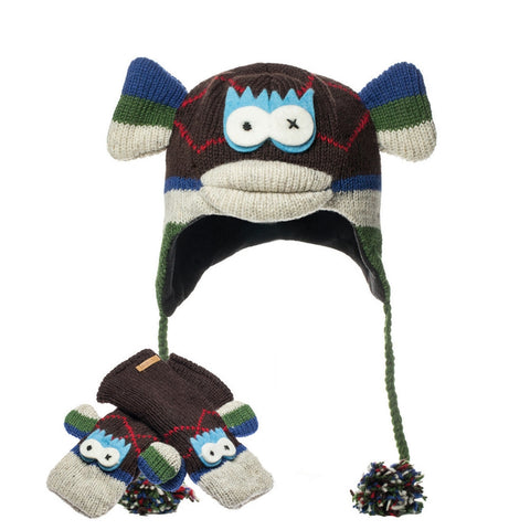 Argyle Sock Monkey Peruvian Knit Hat & Mittens Set