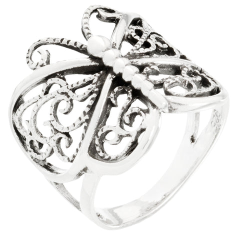 Butterfly Scroll Sterling Silver Wrap Ring