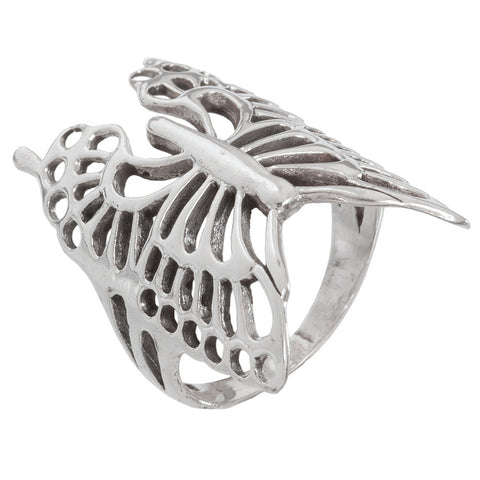 Butterfly Long Wrapped Sterling Silver Ring