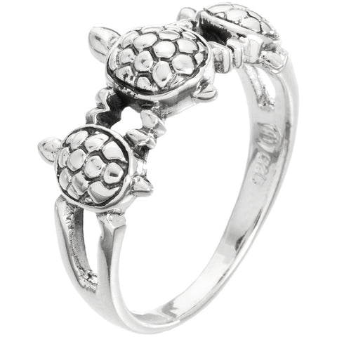 Turtle Trio Holding Hands Sterling Silver Ring
