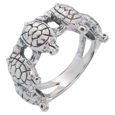Turtle Hand To Hand Band Sterling Silver Ring