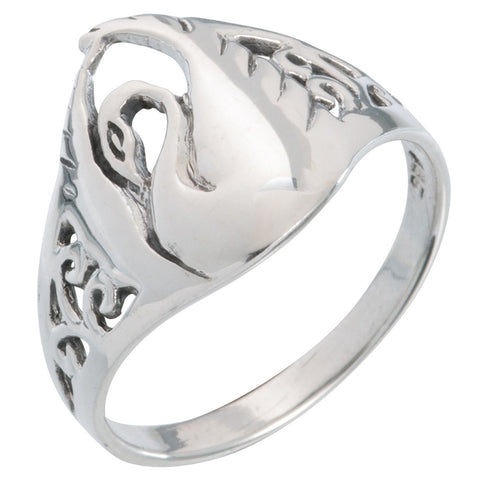 Swan Wings Up Sterling Silver Ring