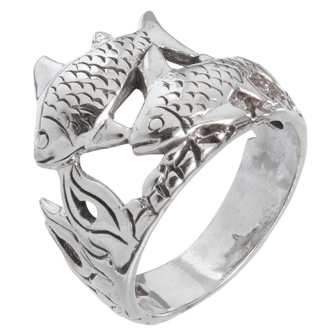Fish Duo Swimming Sterling Silver Ring