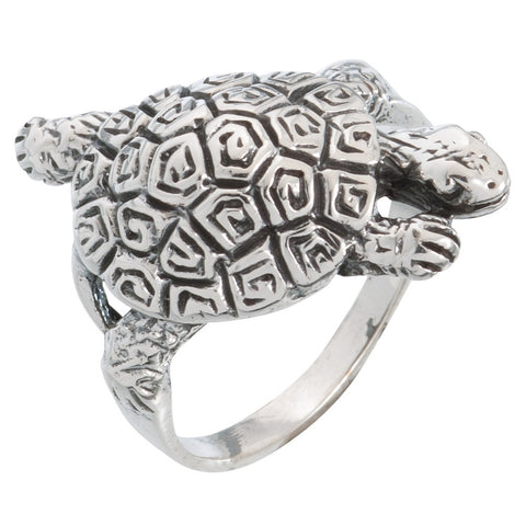 Sea Turtle Swimming Sterling Silver Ring