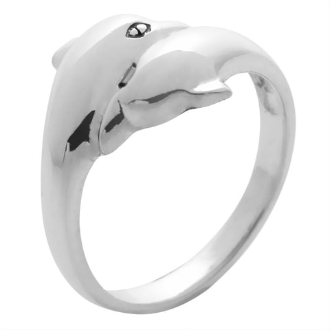 Dolphins Face To Face Sterling Silver Ring