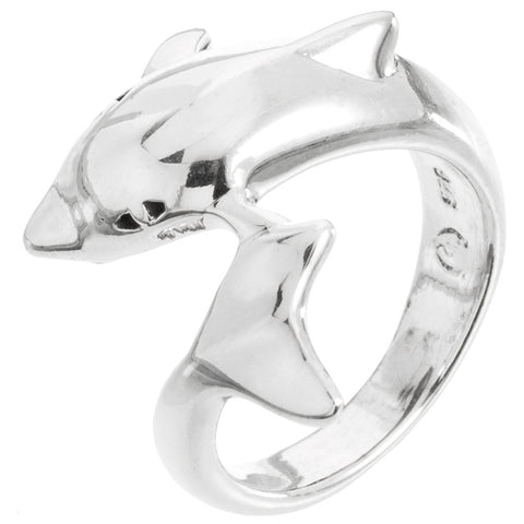 Dolphin Head To Tail Sterling Silver Ring