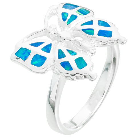 Butterfly With Opal Inlay Narrow Band Sterling Silver Ring