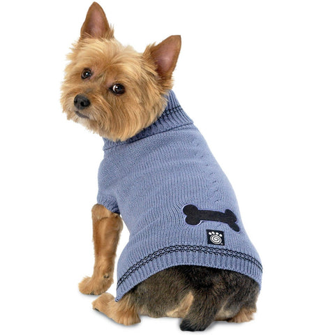 Cali's Bone Stonewash Blue Cable Dog Sweater