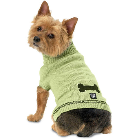 Cali's Bone Stonewash Turf Green Cable Dog Sweater