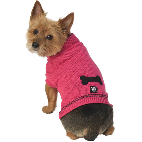 Cali's Bone Stonewash Raspberry Cable Dog Sweater