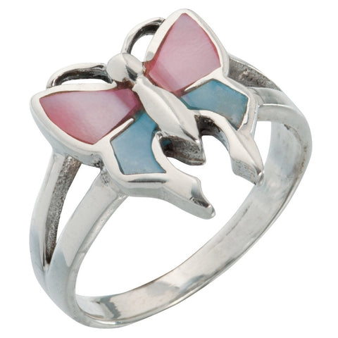 Butterfly With Pink & Blue Stone Sterling Silver Ring