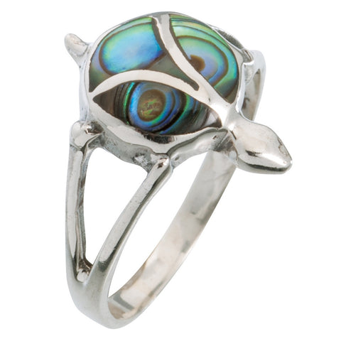Turtle Swirl Stone Sterling Silver Ring