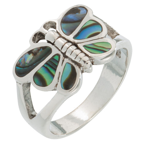 Butterfly Swirl Stone Sterling Silver Ring
