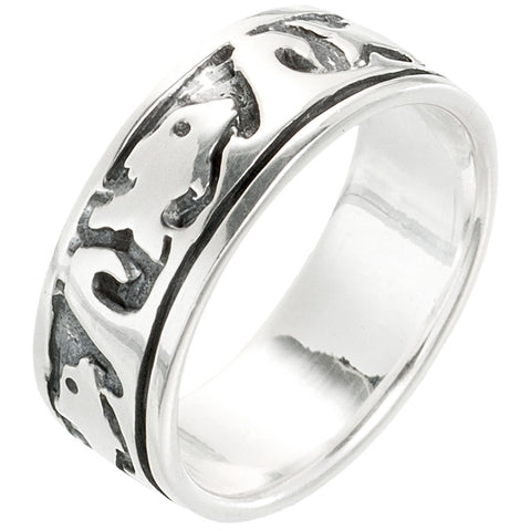 Dolphin & Big Wave Sterling Silver Band Ring