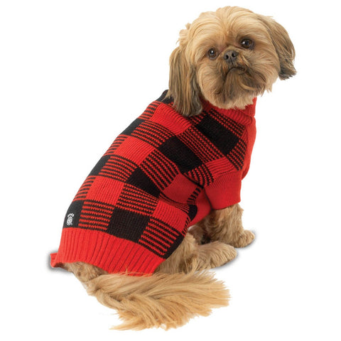 Checker's Checkered Red & Black Dog Sweater