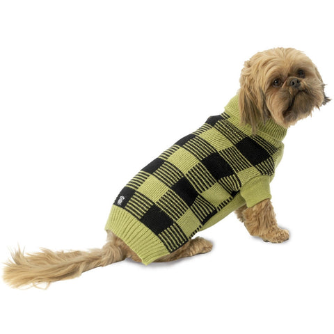 Checker's Checkered Pear & Black Dog Sweater