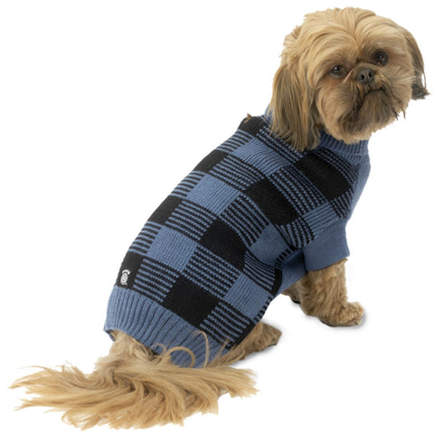 Checker's Checkered Blue & Black Dog Sweater