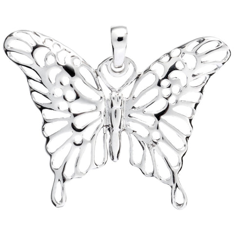 Butterfly With Fancy Wings Sterling Silver Pendant