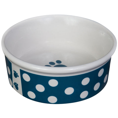 Think Dots Small Blue Dog Dish