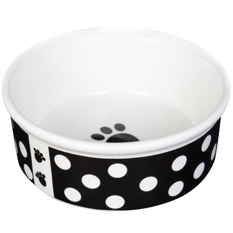 Think Dots Black Dog Dish