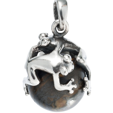 Frog on Sphere Sterling Silver Pendant